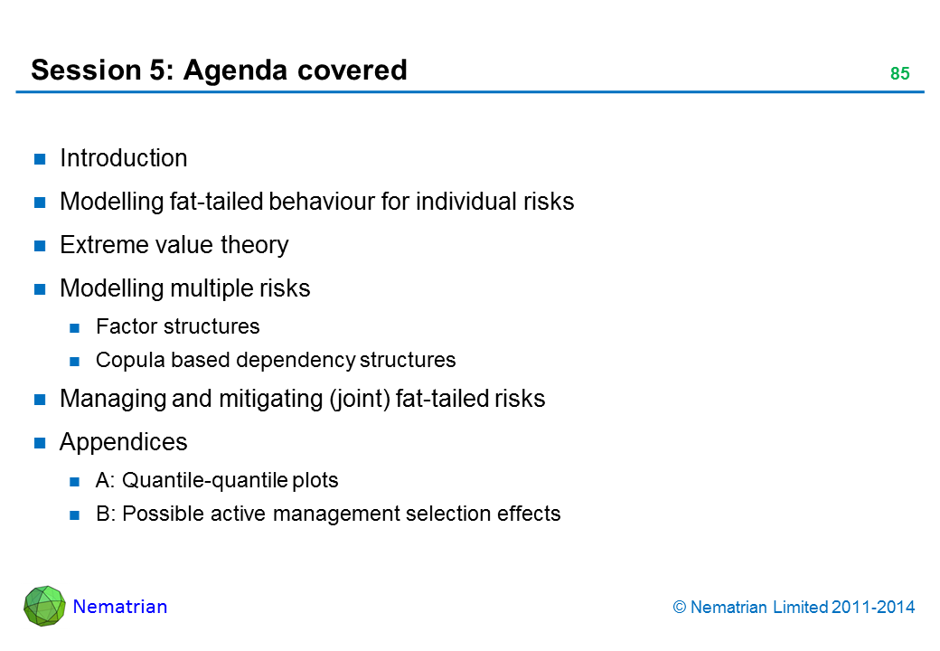 Bullet points include: Introduction Modelling fat-tailed behaviour for individual risks Extreme value theory Modelling multiple risks Factor structures Copula based dependency structures Managing and mitigating (joint) fat-tailed risks Appendices A: Quantile-quantile plots B: Possible active management selection effects