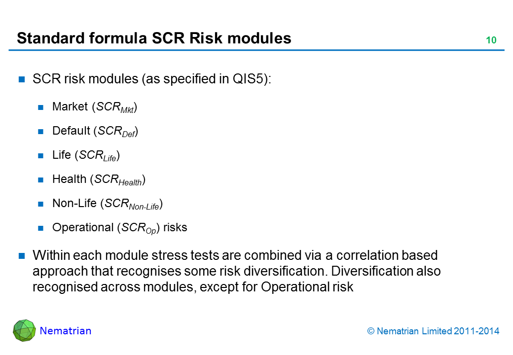 Bullet points include: SCR risk modules (as specified in QIS5): Market (SCRMkt) Default (SCRDef) Life (SCRLife) Health (SCRHealth) Non-Life (SCRNon-Life) Operational (SCROp) risks Within each module stress tests are combined via a correlation based approach that recognises some risk diversification. Diversification also recognised across modules, except for Operational risk