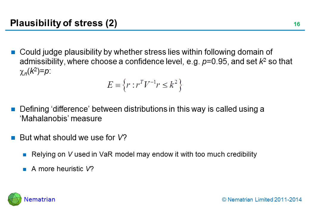 Bullet points include: Could judge plausibility by whether stress lies within following domain of admissibility, where choose a confidence level, e.g. p=0.95, and set k2 so that n(k2)=p:  Defining 'difference' between distributions in this way is called using a 'Mahalanobis' measure But what should we use for V? Relying on V used in VaR model may endow it with too much credibility A more heuristic V?