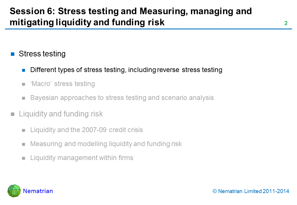 Bullet points include: Stress testing Different types of stress testing, including reverse stress testing