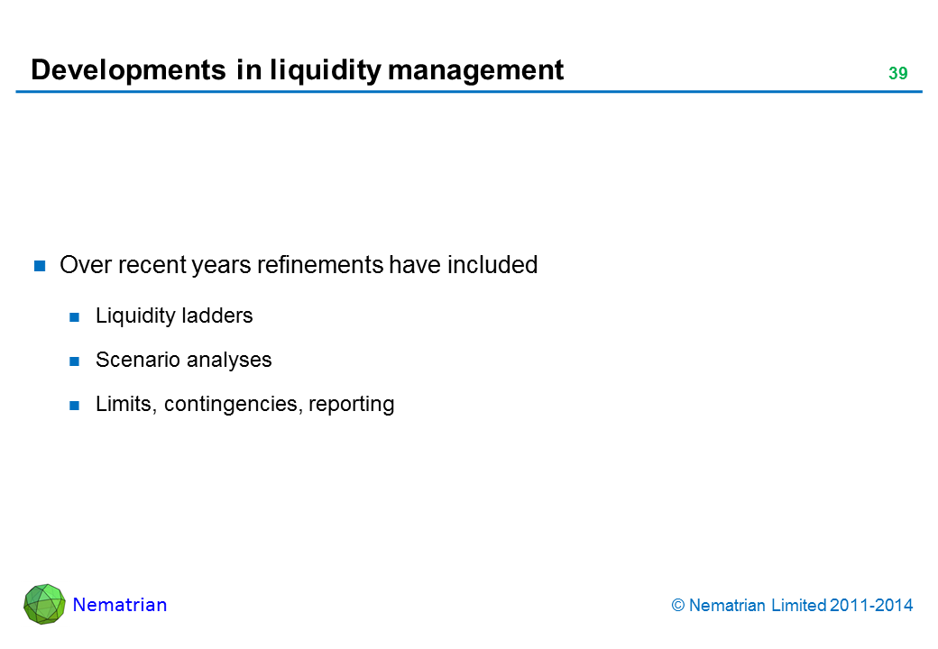 Bullet points include: Over recent years refinements have included Liquidity ladders Scenario analyses Limits, contingencies, reporting