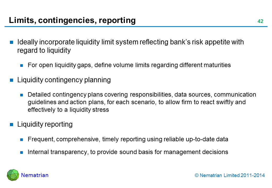 Bullet points include: Ideally incorporate liquidity limit system reflecting bank's risk appetite with regard to liquidity For open liquidity gaps, define volume limits regarding different maturities Liquidity contingency planning Detailed contingency plans covering responsibilities, data sources, communication guidelines and action plans, for each scenario, to allow firm to react swiftly and effectively to a liquidity stress Liquidity reporting Frequent, comprehensive, timely reporting using reliable up-to-date data Internal transparency, to provide sound basis for management decisions