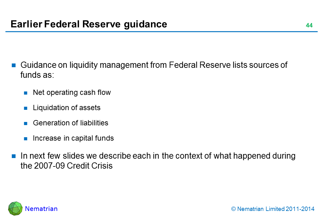 Bullet points include: Guidance on liquidity management from Federal Reserve lists sources of funds as: Net operating cash flow Liquidation of assets Generation of liabilities Increase in capital funds In next few slides we describe each in the context of what happened during the 2007-09 Credit Crisis