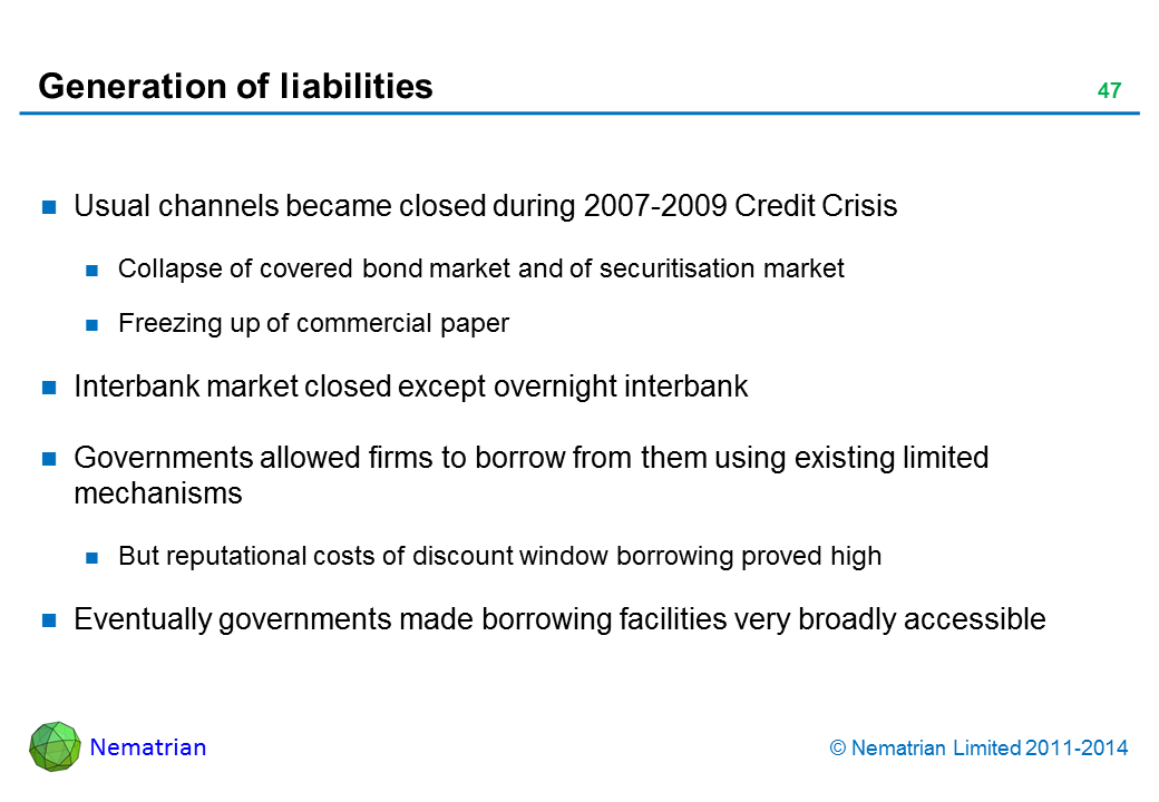 Bullet points include: Usual channels became closed during 2007-2009 Credit Crisis Collapse of covered bond market and of securitisation market Freezing up of commercial paper Interbank market closed except overnight interbank Governments allowed firms to borrow from them using existing limited mechanisms But reputational costs of discount window borrowing proved high Eventually governments made borrowing facilities very broadly accessible