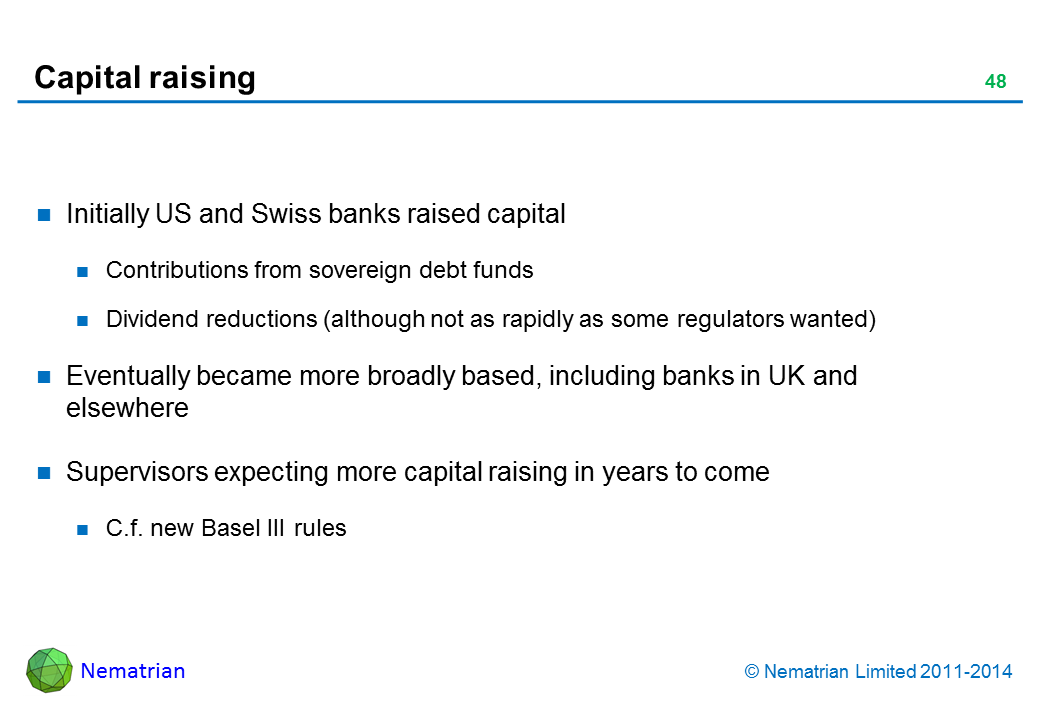 Bullet points include: Initially US and Swiss banks raised capital Contributions from sovereign debt funds Dividend reductions (although not as rapidly as some regulators wanted) Eventually became more broadly based, including banks in UK and elsewhere Supervisors expecting more capital raising in years to come C.f. new Basel III rules