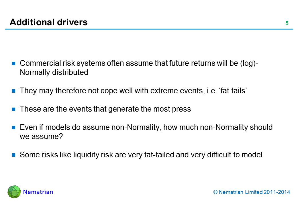 Bullet points include: Commercial risk systems often assume that future returns will be (log)-Normally distributed They may therefore not cope well with extreme events, i.e. 'fat tails' These are the events that generate the most press Even if models do assume non-Normality, how much non-Normality should we assume? Some risks like liquidity risk are very fat-tailed and very difficult to model