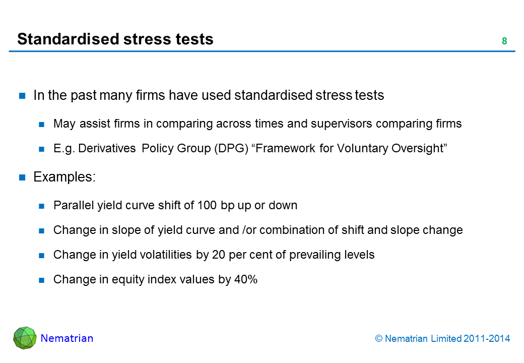 "Bullet points include: In the past many firms have used standardised stress tests May assist firms in comparing across times and supervisors comparing firms E.g. Derivatives Policy Group (DPG) ""Framework for Voluntary Oversight"" Examples: Parallel yield curve shift of 100 bp up or down Change in slope of yield curve and /or combination of shift and slope change Change in yield volatilities by 20 per cent of prevailing levels Change in equity index values by 40%"