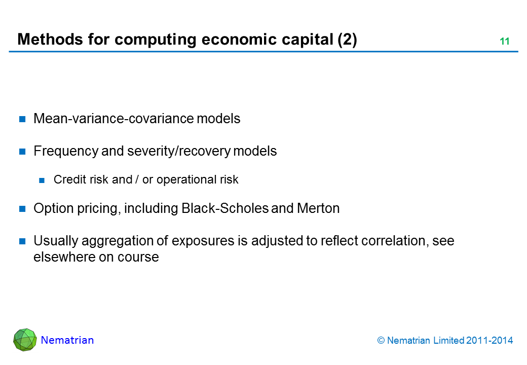 Bullet points include: Mean-variance-covariance models Frequency and severity/recovery models Credit risk and / or operational risk Option pricing, including Black-Scholes and Merton Usually aggregation of exposures is adjusted to reflect correlation, see elsewhere on course