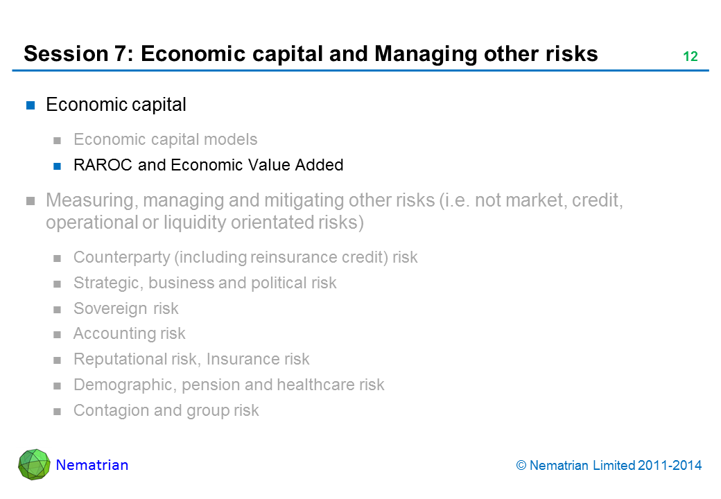 Bullet points include: Economic capital RAROC and Economic Value Added
