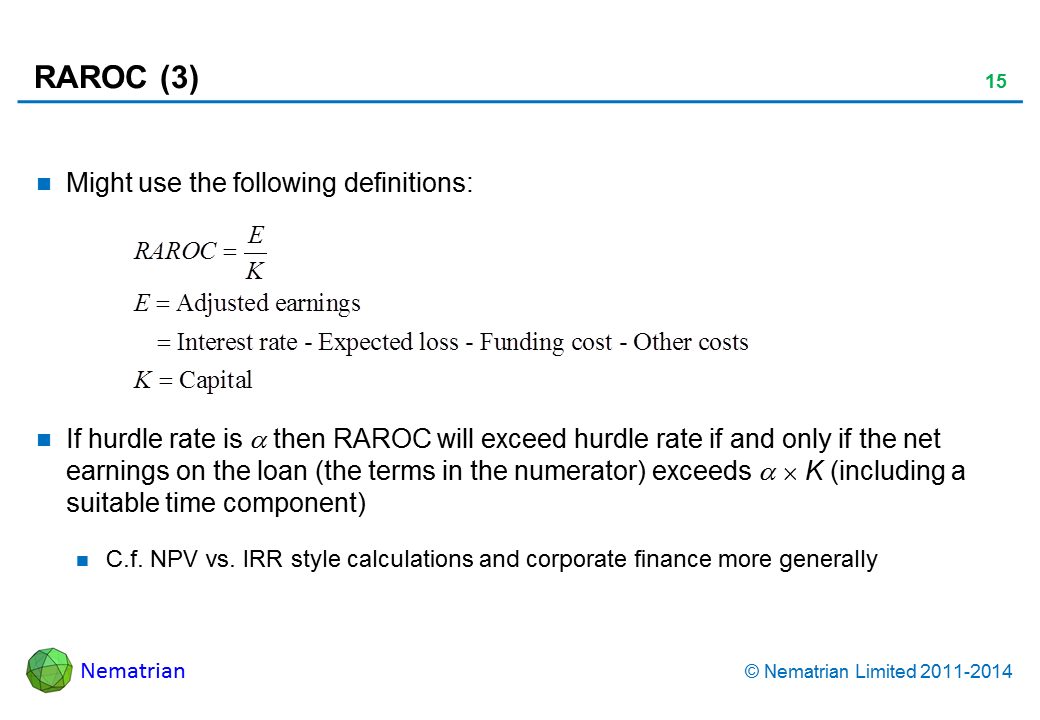 Bullet points include: Might use the following definitions: If hurdle rate is alpha then RAROC will exceed hurdle rate if and only if the net earnings on the loan (the terms in the numerator) exceeds alpha x K (including a suitable time component) C.f. NPV vs. IRR style calculations and corporate finance more generally