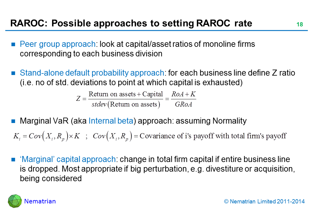 Bullet points include: Peer group approach: look at capital/asset ratios of monoline firms corresponding to each business division Stand-alone default probability approach: for each business line define Z ratio (i.e. no of std. deviations to point at which capital is exhausted) Marginal VaR (aka Internal beta) approach: assuming Normality 'Marginal' capital approach: change in total firm capital if entire business line is dropped. Most appropriate if big perturbation, e.g. divestiture or acquisition, being considered
