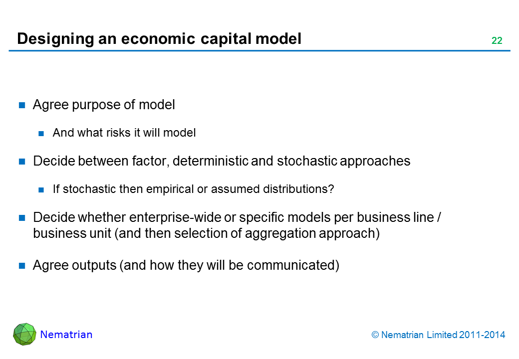 Bullet points include: Agree purpose of model And what risks it will model Decide between factor, deterministic and stochastic approaches If stochastic then empirical or assumed distributions? Decide whether enterprise-wide or specific models per business line / business unit (and then selection of aggregation approach) Agree outputs (and how they will be communicated)