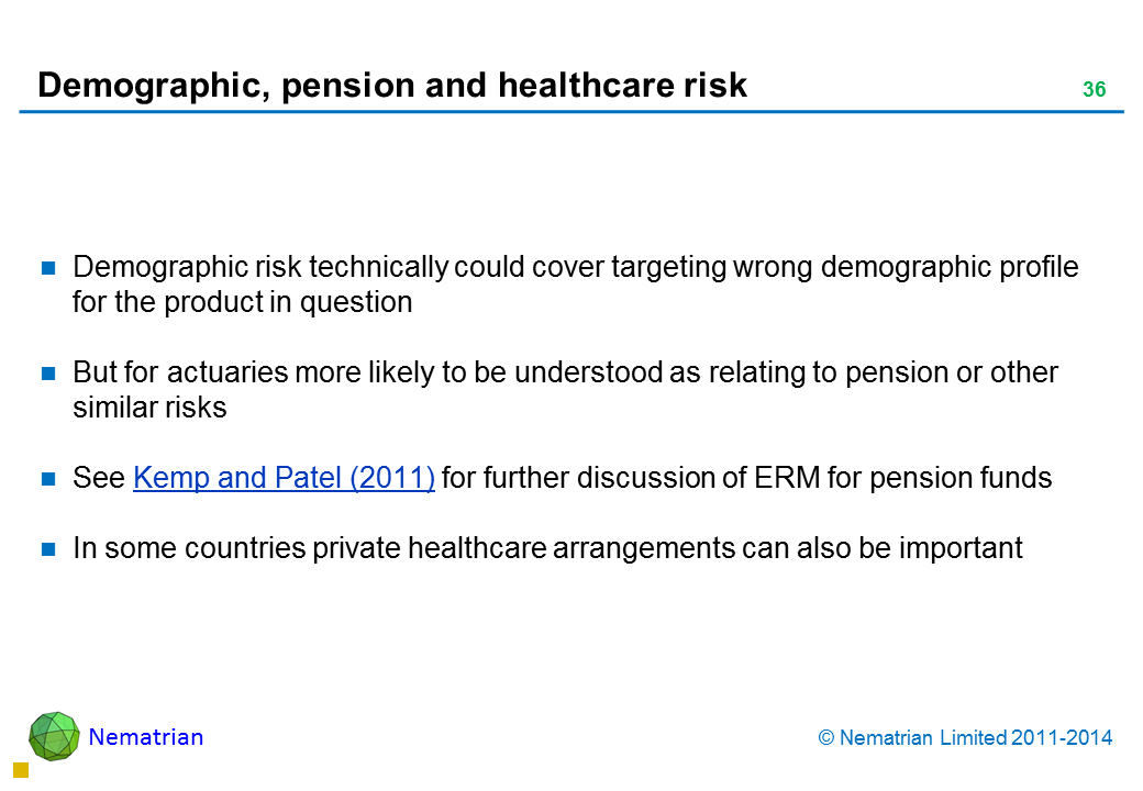 Bullet points include: Demographic risk technically could cover targeting wrong demographic profile for the product in question But for actuaries more likely to be understood as relating to pension or other similar risks See Kemp and Patel (2011) for further discussion of ERM for pension funds In some countries private healthcare arrangements can also be important