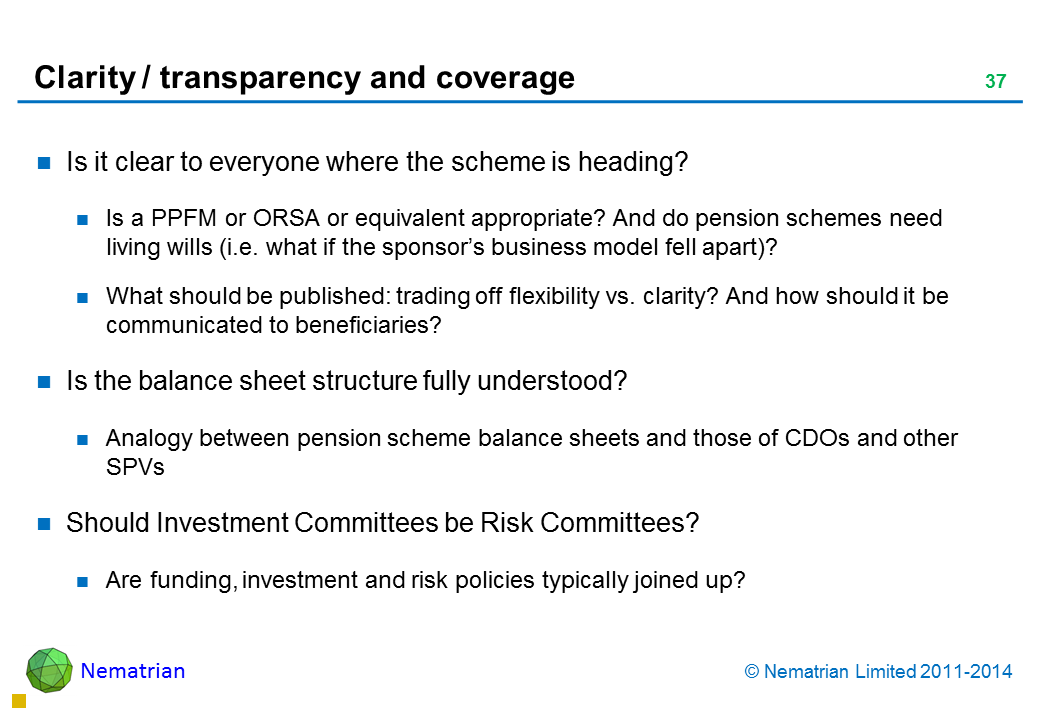 Bullet points include: Is it clear to everyone where the scheme is heading? Is a PPFM or ORSA or equivalent appropriate? And do pension schemes need living wills (i.e. what if the sponsor's business model fell apart)? What should be published: trading off flexibility vs. clarity? And how should it be communicated to beneficiaries? Is the balance sheet structure fully understood? Analogy between pension scheme balance sheets and those of CDOs and other SPVs Should Investment Committees be Risk Committees? Are funding, investment and risk policies typically joined up?