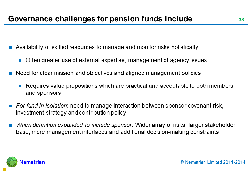 Bullet points include: Availability of skilled resources to manage and monitor risks holistically Often greater use of external expertise, management of agency issues Need for clear mission and objectives and aligned management policies Requires value propositions which are practical and acceptable to both members and sponsors For fund in isolation: need to manage interaction between sponsor covenant risk, investment strategy and contribution policy When definition expanded to include sponsor: Wider array of risks, larger stakeholder base, more management interfaces and additional decision-making constraints