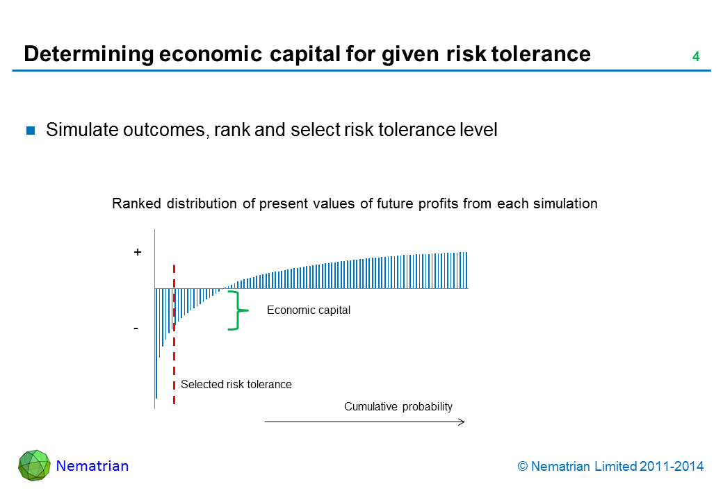 Bullet points include: Simulate outcomes, rank and select risk tolerance level. Ranked distribution of present values of future profits from each simulation