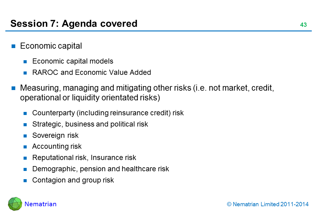 Bullet points include: Economic capital Economic capital models RAROC and Economic Value Added Measuring, managing and mitigating other risks (i.e. not market, credit, operational or liquidity orientated risks) Counterparty (including reinsurance credit) risk Strategic, business and political risk Sovereign risk Accounting risk Reputational risk, Insurance risk Demographic, pension and healthcare risk Contagion and group risk