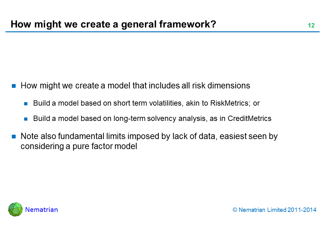 Bullet points include: How might we create a model that includes all risk dimensions Build a model based on short term volatilities, akin to RiskMetrics; or Build a model based on long-term solvency analysis, as in CreditMetrics Note also fundamental limits imposed by lack of data, easiest seen by considering a pure factor model