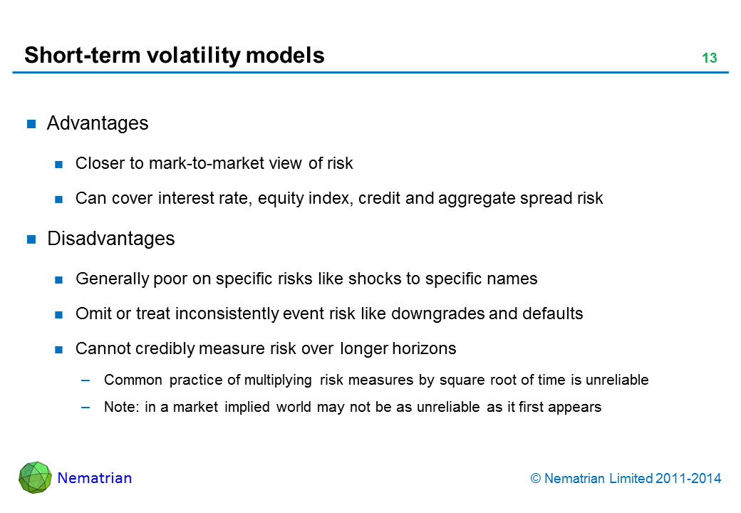 Bullet points include: Advantages Closer to mark-to-market view of risk Can cover interest rate, equity index, credit and aggregate spread risk Disadvantages Generally poor on specific risks like shocks to specific names Omit or treat inconsistently event risk like downgrades and defaults Cannot credibly measure risk over longer horizons Common practice of multiplying risk measures by square root of time is unreliable Note: in a market implied world may not be as unreliable as it first appears