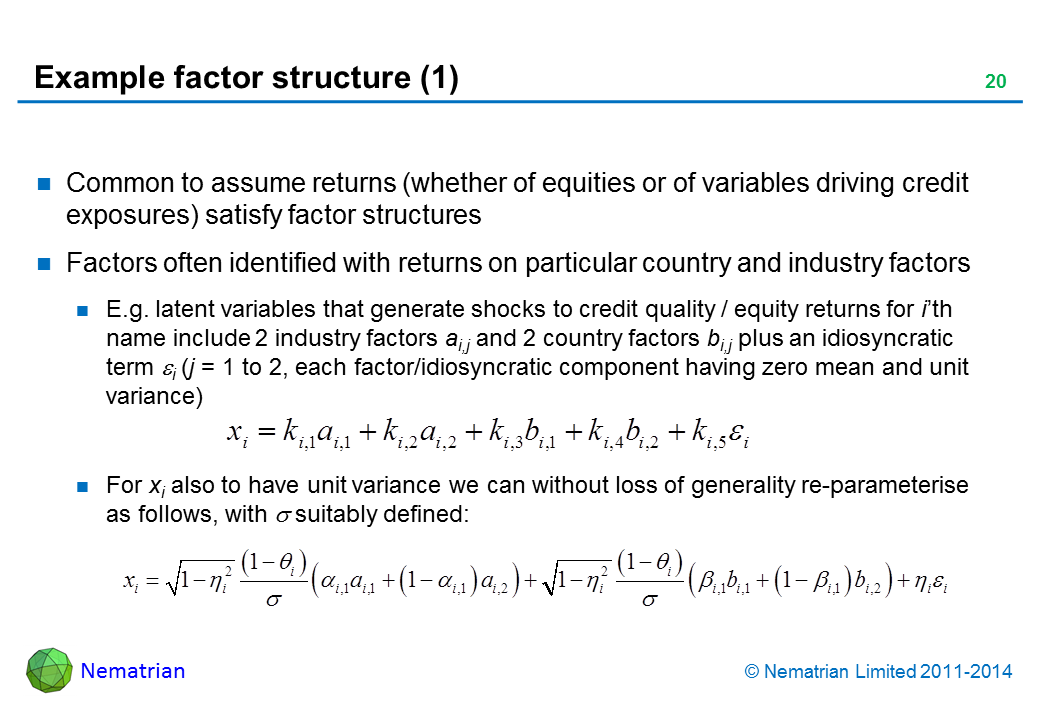 Bullet points include: Common to assume returns (whether of equities or of variables driving credit exposures) satisfy factor structures Factors often identified with returns on particular country and industry factors E.g. latent variables that generate shocks to credit quality / equity returns for i'th name include 2 industry factors ai,j and 2 country factors bi,j plus an idiosyncratic term i (j = 1 to 2, each factor/idiosyncratic component having zero mean and unit variance) For xi also to have unit variance we can without loss of generality re-parameterise as follows, with  suitably defined: