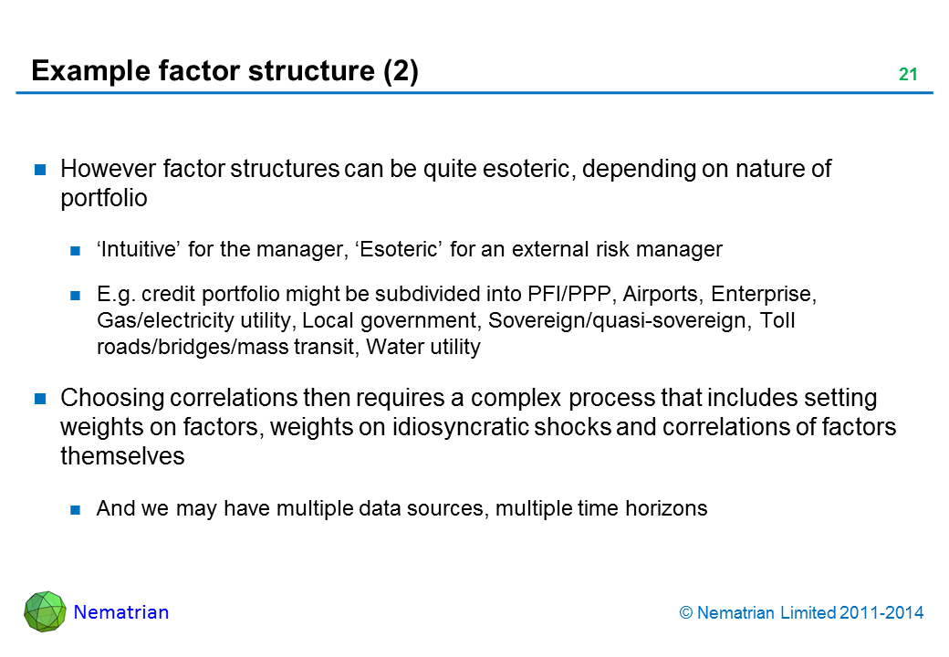 Bullet points include: However factor structures can be quite esoteric, depending on nature of portfolio 'Intuitive' for the manager, 'Esoteric' for an external risk manager E.g. credit portfolio might be subdivided into PFI/PPP, Airports, Enterprise, Gas/electricity utility, Local government, Sovereign/quasi-sovereign, Toll roads/bridges/mass transit, Water utility Choosing correlations then requires a complex process that includes setting weights on factors, weights on idiosyncratic shocks and correlations of factors themselves And we may have multiple data sources, multiple time horizons