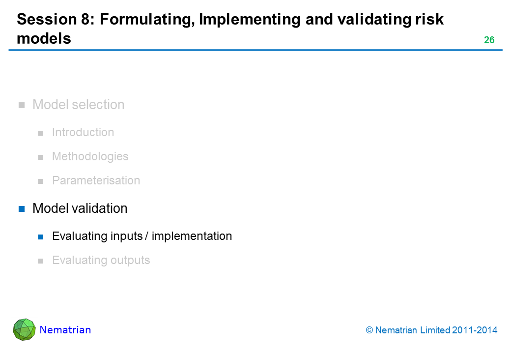 Bullet points include: Model validation Evaluating inputs / implementation