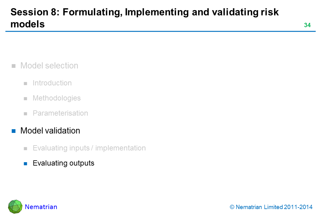 Bullet points include: Model validation Evaluating outputs