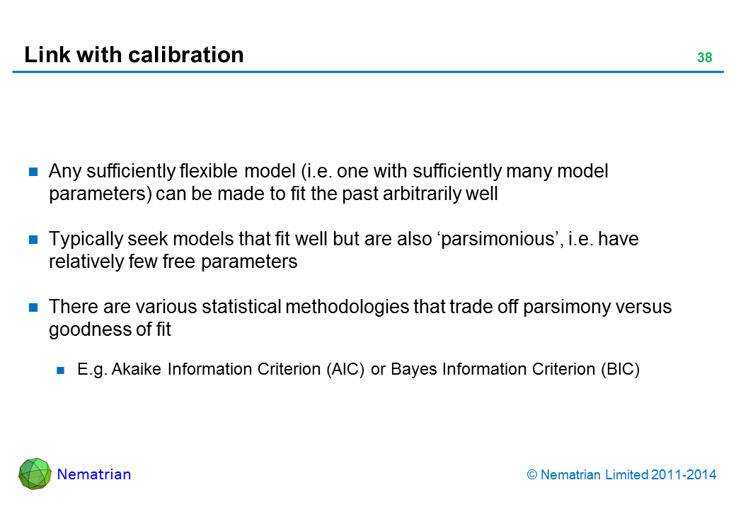 Bullet points include: Any sufficiently flexible model (i.e. one with sufficiently many model parameters) can be made to fit the past arbitrarily well Typically seek models that fit well but are also 'parsimonious', i.e. have relatively few free parameters There are various statistical methodologies that trade off parsimony versus goodness of fit E.g. Akaike Information Criterion (AIC) or Bayes Information Criterion (BIC)