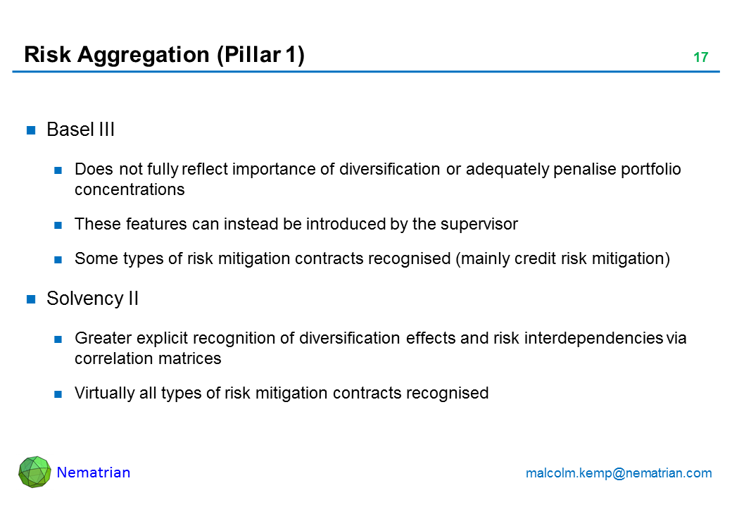 Bullet points include: Basel III Does not fully reflect importance of diversification or adequately penalise portfolio concentrations These features can instead be introduced by the supervisor Some types of risk mitigation contracts recognised (mainly credit risk mitigation) Solvency II Greater explicit recognition of diversification effects and risk interdependencies via correlation matrices Virtually all types of risk mitigation contracts recognised