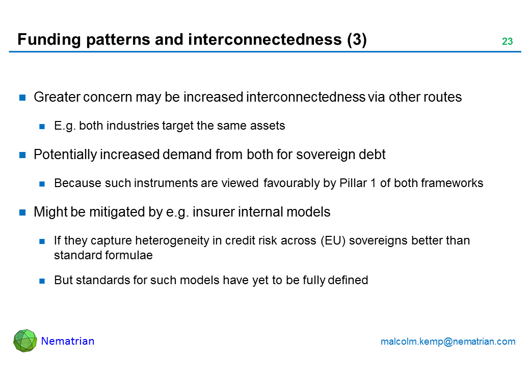 Bullet points include: Greater concern may be increased interconnectedness via other routes E.g. both industries target the same assets Potentially increased demand from both for sovereign debt Because such instruments are viewed favourably by Pillar 1 of both frameworks Might be mitigated by e.g. insurer internal models If they capture heterogeneity in credit risk across (EU) sovereigns better than standard formulae But standards for such models have yet to be fully defined