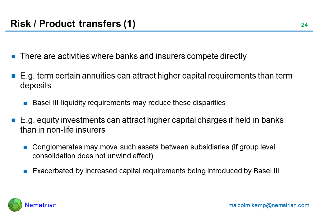 Bullet points include: There are activities where banks and insurers compete directly E.g. term certain annuities can attract higher capital requirements than term deposits Basel III liquidity requirements may reduce these disparities E.g. equity investments can attract higher capital charges if held in banks than in non-life insurers Conglomerates may move such assets between subsidiaries (if group level consolidation does not unwind effect) Exacerbated by increased capital requirements being introduced by Basel III