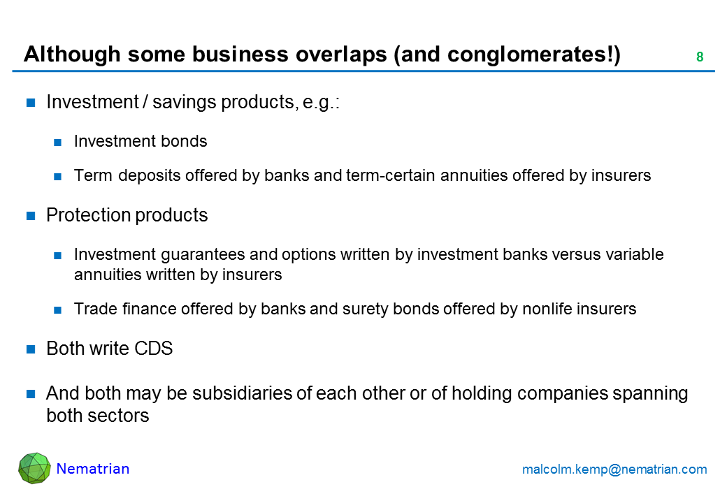 Bullet points include: Investment / savings products, e.g.: Investment bonds Term deposits offered by banks and term-certain annuities offered by insurers Protection products Investment guarantees and options written by investment banks versus variable annuities written by insurers Trade finance offered by banks and surety bonds offered by nonlife insurers Both write CDS And both may be subsidiaries of each other or of holding companies spanning both sectors