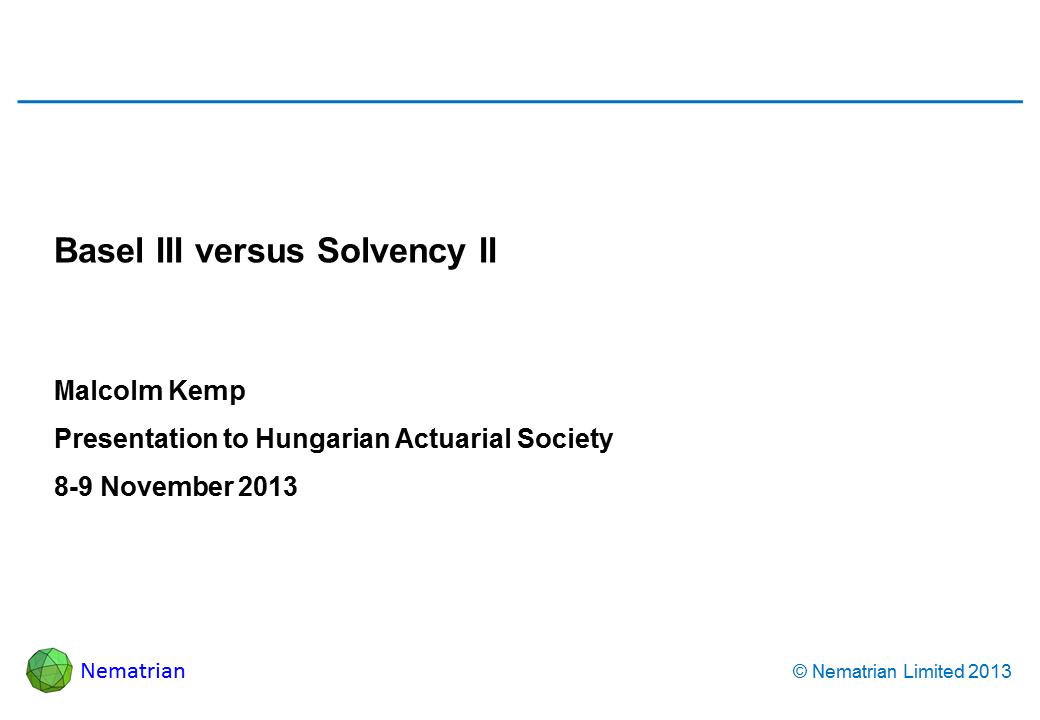 Bullet points include: Malcolm Kemp. Presentation to Hungarian Actuarial Society. 8-9 November 2013