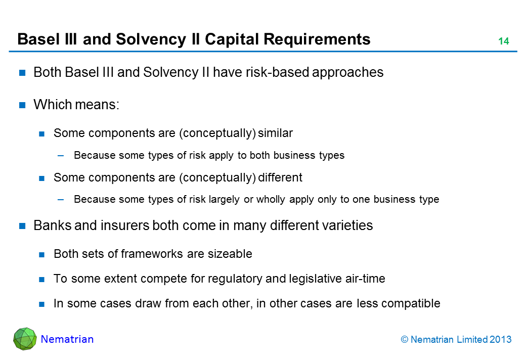 Bullet points include: Both Basel III and Solvency II have risk-based approaches Which means: Some components are (conceptually) similar Because some types of risk apply to both business types Some components are (conceptually) different Because some types of risk largely or wholly apply only to one business type Banks and insurers both come in many different varieties Both sets of frameworks are sizeable To some extent compete for regulatory and legislative air-time In some cases draw from each other, in other cases are less compatible