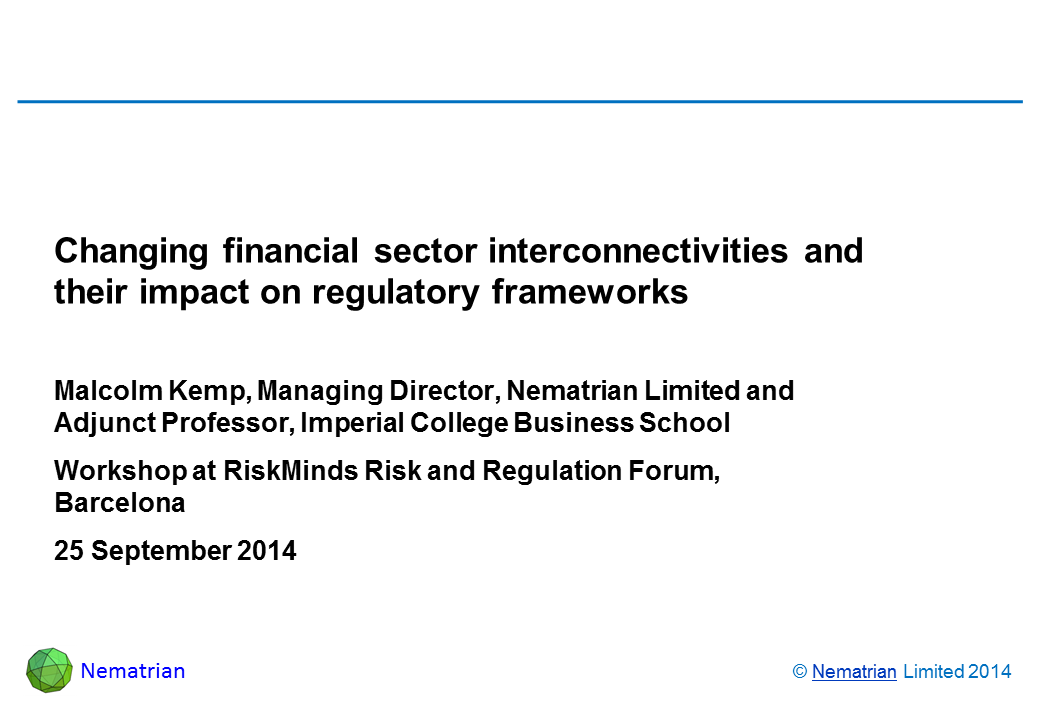 Bullet points include: Malcolm Kemp, Managing Director, Nematrian Limited and Adjunct Professor, Imperial College Business School. Workshop at Risk and Regulation Forum, Barcelona. 25 September 2014