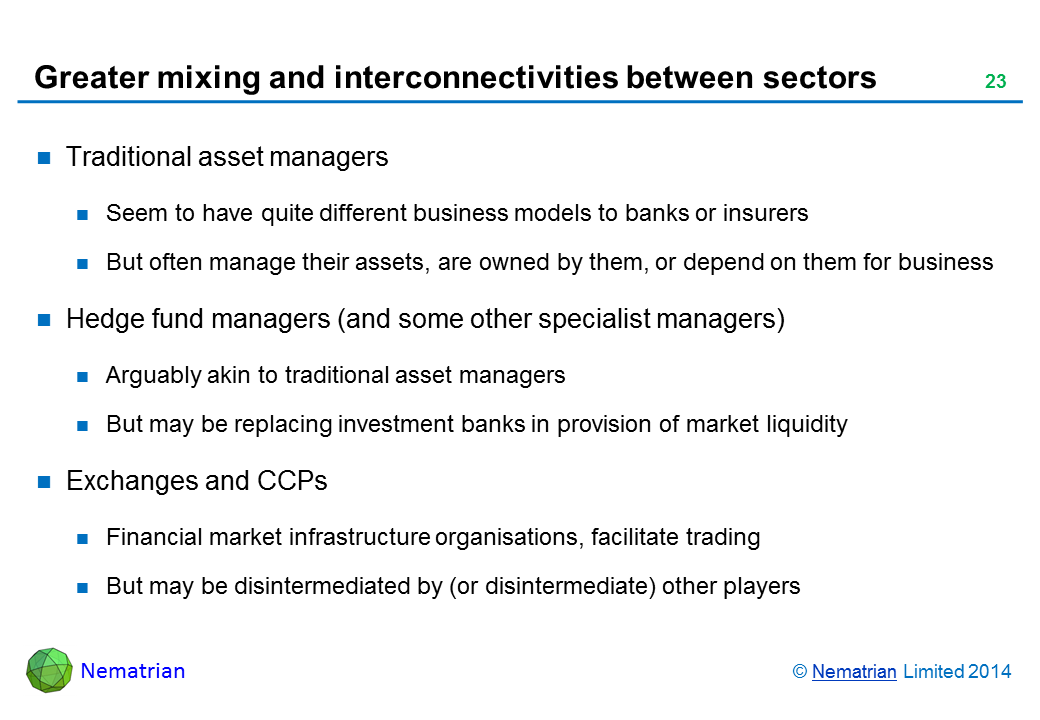 Bullet points include: Traditional asset managers Seem to have quite different business models to banks or insurers But often manage their assets, are owned by them, or depend on them for business Hedge fund managers (and some other specialist managers) Arguably akin to traditional asset managers But may be replacing investment banks in provision of market liquidity Exchanges and CCPs Financial market infrastructure organisations, facilitate trading But may be disintermediated by (or disintermediate) other players