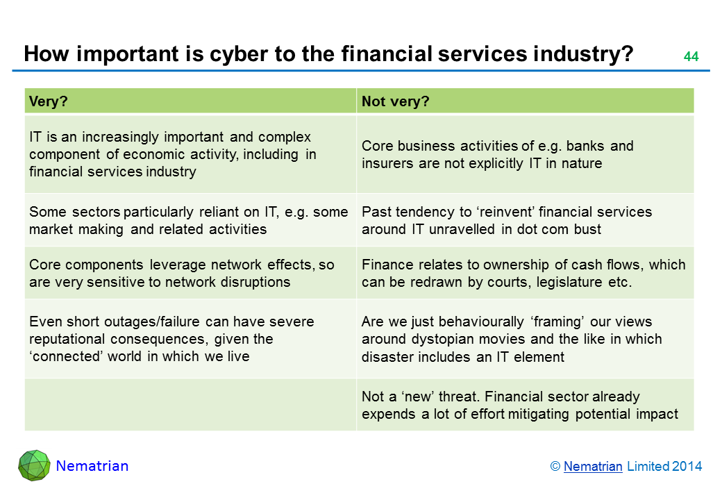 Bullet points include: Very? Not very? IT is an increasingly important and complex component of economic activity, including in financial services industry Core business activities of e.g. banks and insurers are not explicitly IT in nature Some sectors particularly reliant on IT, e.g. some market making and related activities Past tendency to 'reinvent' financial services around IT unravelled in dot com bust Core components leverage network effects, so are very sensitive to network disruptions Finance relates to ownership of cash flows, which can be redrawn by courts, legislature etc. Even short outages/failure can have severe reputational consequences, given the 'connected' world in which we live Are we just behaviourally 'framing' our views around dystopian movies and the like in which disaster includes an IT element Not a 'new' threat. Financial sector already expends a lot of effort mitigating potential impact