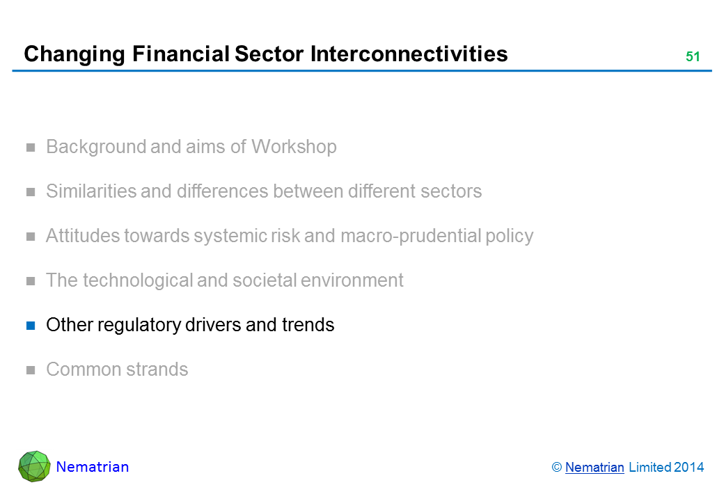 Bullet points include: Other regulatory drivers and trends