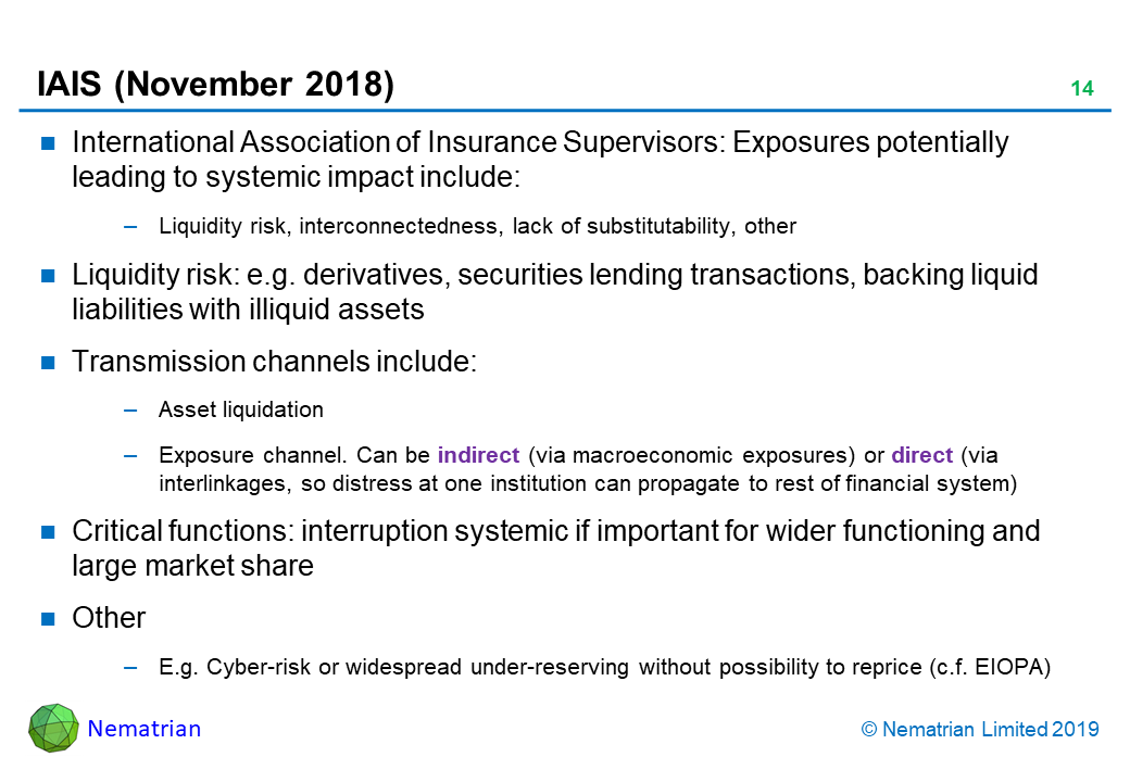 Bullet points include: International Association of Insurance Supervisors: Exposures potentially leading to systemic impact include: Liquidity risk, interconnectedness, lack of substitutability, other. Liquidity risk: e.g. derivatives, securities lending transactions, backing liquid liabilities with illiquid assets. Transmission channels include: Asset liquidation. Exposure channel. Can be indirect (via macroeconomic exposures) or direct (via interlinkages, so distress at one institution can propagate to rest of financial system). Critical functions: interruption systemic if important for wider functioning and large market share. Other. E.g. Cyber-risk or widespread under-reserving without possibility to reprice (c.f. EIOPA)