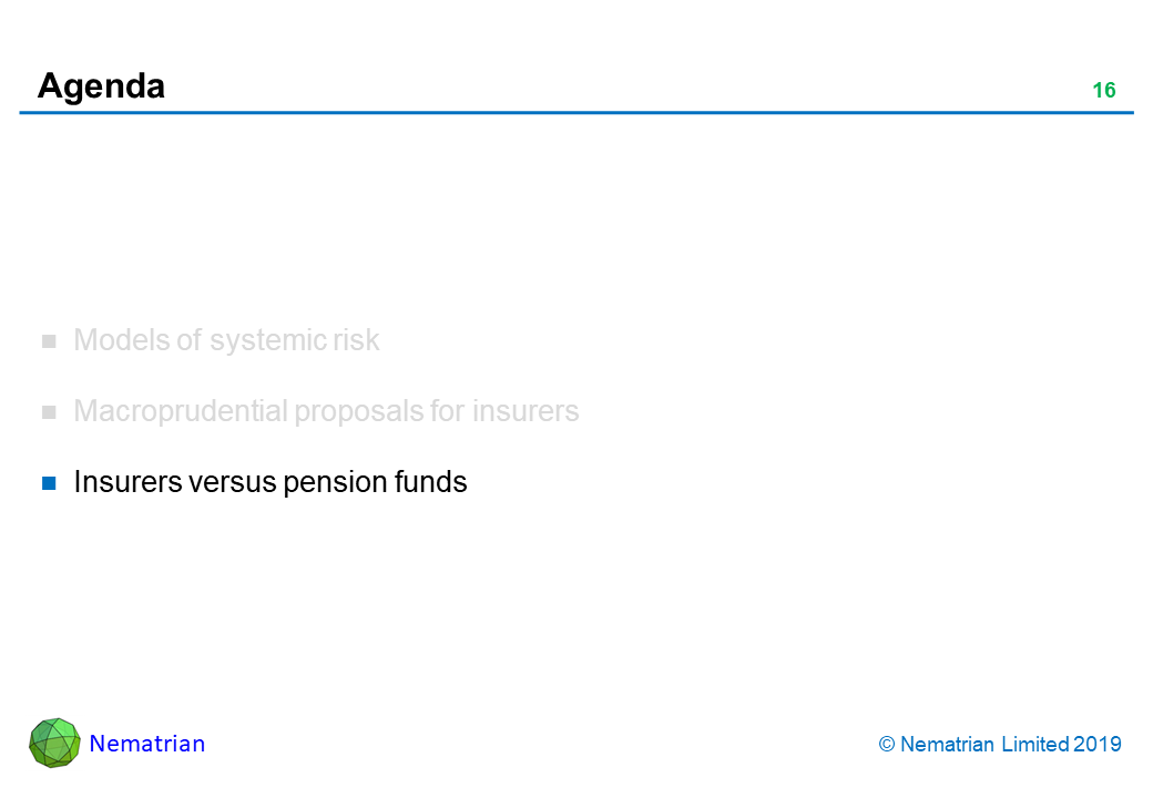 Bullet points include: Insurers versus pension funds