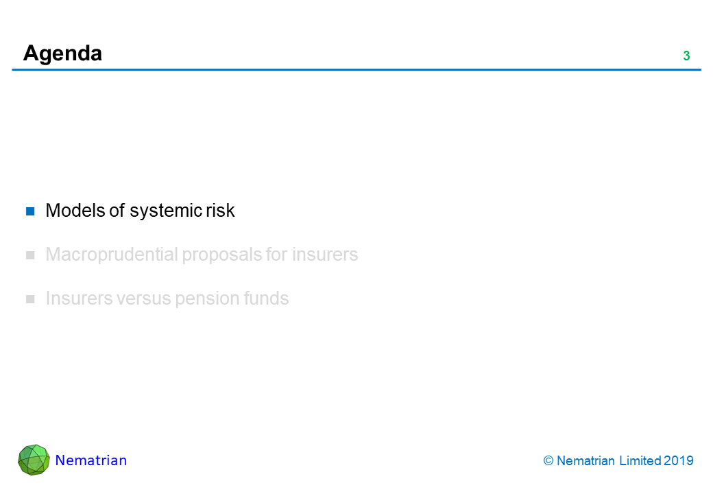 Bullet points include: Models of systemic risk. Macroprudential proposals for insurers. Insurers versus pension funds