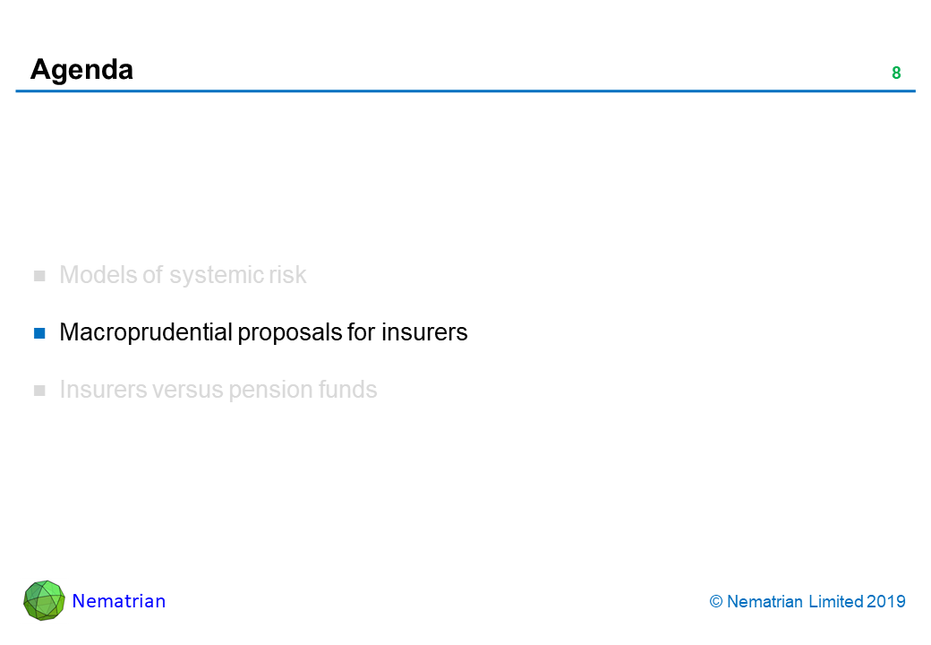 Bullet points include: Macroprudential proposals for insurers