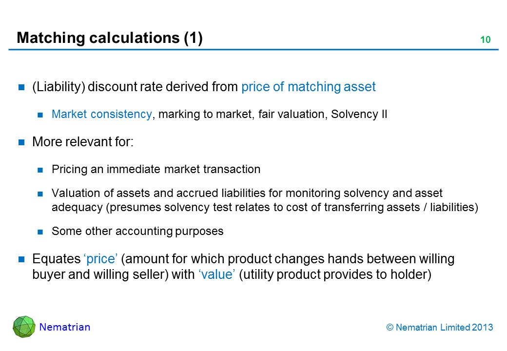 Bullet points include: (Liability) discount rate derived from price of matching asset Market consistency, marking to market, fair valuation, Solvency II More relevant for: Pricing an immediate market transaction Valuation of assets and accrued liabilities for monitoring solvency and asset adequacy (presumes solvency test relates to cost of transferring assets / liabilities) Some other accounting purposes Equates 'price' (amount for which product changes hands between willing buyer and willing seller) with 'value' (utility product provides to holder)