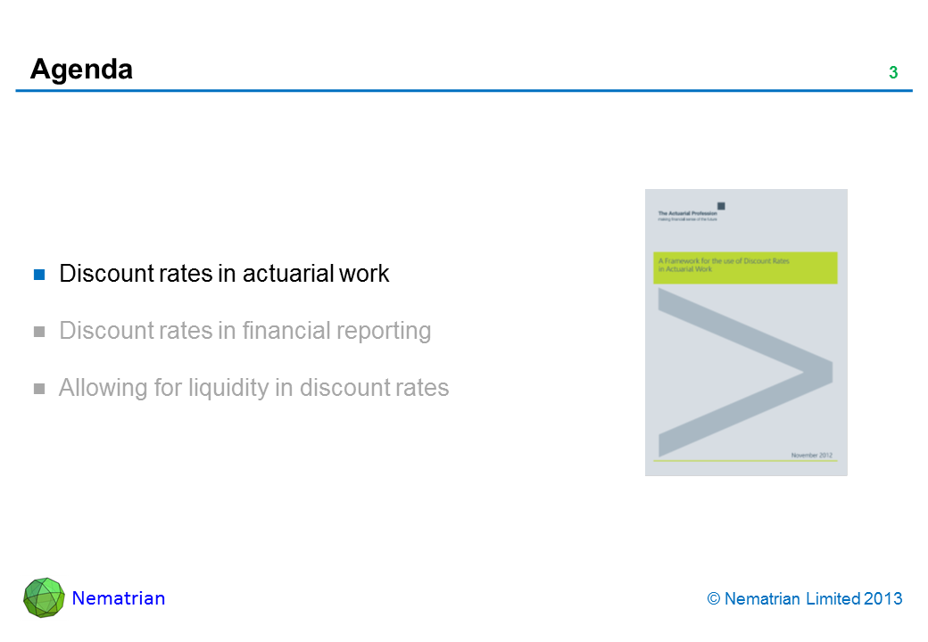 Bullet points include: Discount rates in actuarial work