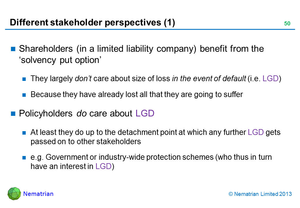 Bullet points include: Shareholders (in a limited liability company) benefit from the 'solvency put option' They largely don't care about size of loss in the event of default (i.e. LGD) Because they have already lost all that they are going to suffer Policyholders do care about LGD At least they do up to the detachment point at which any further LGD gets passed on to other stakeholders e.g. Government or industry-wide protection schemes (who thus in turn have an interest in LGD)