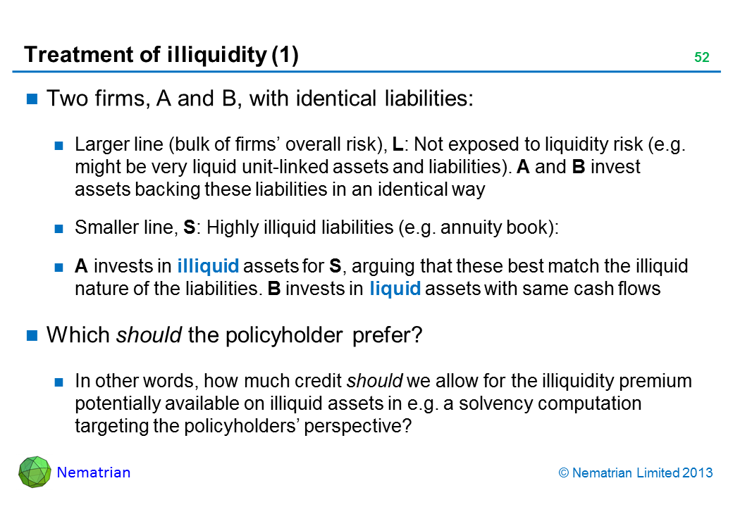 Bullet points include: Two firms, A and B, with identical liabilities: Larger line (bulk of firms' overall risk), L: Not exposed to liquidity risk (e.g. might be very liquid unit-linked assets and liabilities). A and B invest assets backing these liabilities in an identical way Smaller line, S: Highly illiquid liabilities (e.g. annuity book): A invests in illiquid assets for S, arguing that these best match the illiquid nature of the liabilities. B invests in liquid assets with same cash flows Which should the policyholder prefer? In other words, how much credit should we allow for the illiquidity premium potentially available on illiquid assets in e.g. a solvency computation targeting the policyholders' perspective?
