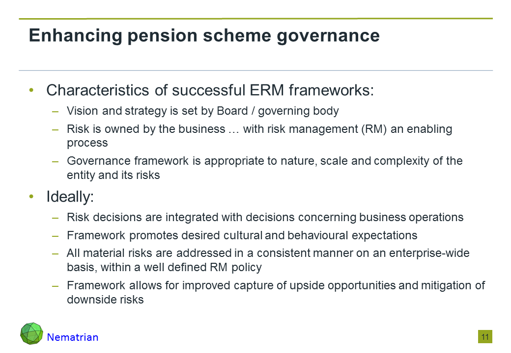 Bullet points include: Characteristics of successful ERM frameworks: Vision and strategy is set by Board / governing body, Risk is owned by the business … with risk management (RM) an enabling process, Governance framework is appropriate to nature, scale and complexity of the entity and its risks. Ideally: Risk decisions are integrated with decisions concerning business operations, Framework promotes desired cultural and behavioural expectations, All material risks are addressed in a consistent manner on an enterprise-wide basis, within a well defined RM policy, Framework allows for improved capture of upside opportunities and mitigation of downside risks