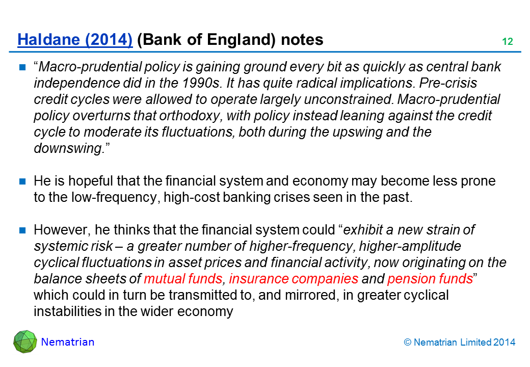"Bullet points include: ""Macro-prudential policy is gaining ground every bit as quickly as central bank independence did in the 1990s. It has quite radical implications. Pre-crisis credit cycles were allowed to operate largely unconstrained. Macro-prudential policy overturns that orthodoxy, with policy instead leaning against the credit cycle to moderate its fluctuations, both during the upswing and the downswing."" He is hopeful that the financial system and economy may become less prone to the low-frequency, high-cost banking crises seen in the past. However, he thinks that the financial system could ""exhibit a new strain of systemic risk – a greater number of higher-frequency, higher-amplitude cyclical fluctuations in asset prices and financial activity, now originating on the balance sheets of mutual funds, insurance companies and pension funds"" which could in turn be transmitted to, and mirrored, in greater cyclical instabilities in the wider economy"