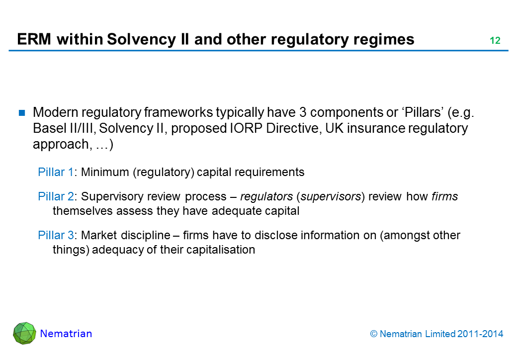 Bullet points include: Modern regulatory frameworks typically have 3 components or 'Pillars' (e.g. Basel II/III, Solvency II, proposed IORP Directive, UK insurance regulatory approach, …) Pillar 1: Minimum (regulatory) capital requirements Pillar 2: Supervisory review process – regulators (supervisors) review how firms themselves assess they have adequate capital Pillar 3: Market discipline – firms have to disclose information on (amongst other things) adequacy of their capitalisation