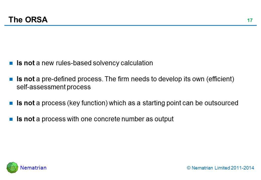Bullet points include: Is not a new rules-based solvency calculation Is not a pre-defined process. The firm needs to develop its own (efficient) self-assessment process Is not a process (key function) which as a starting point can be outsourced Is not a process with one concrete number as output